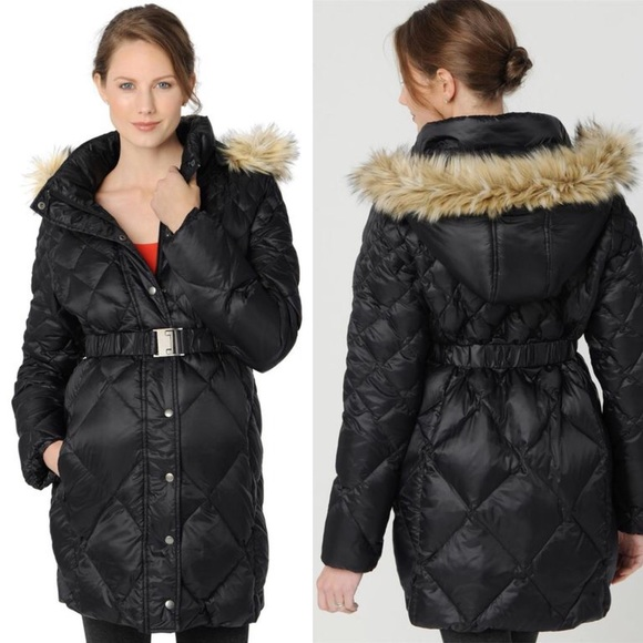 A Pea in the Pod Jackets & Blazers - Maternity Puffer Coat Down Black hood A Pea In Pod